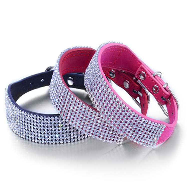 Dog Collars with 8 Rows Full Crystal Diamonds