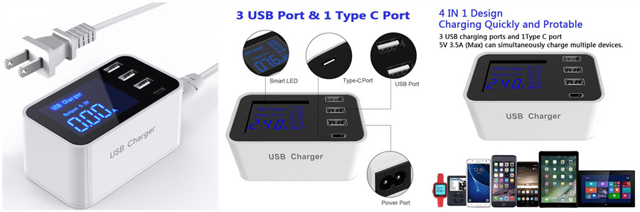 4-Port USB Charger with Smart LED Display