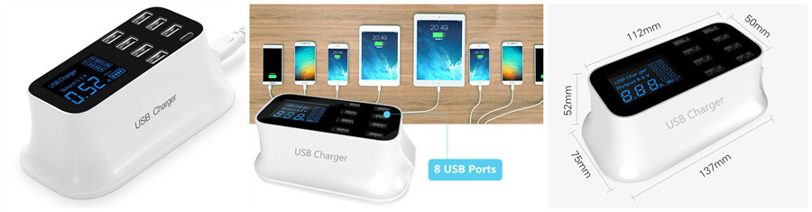 Digital Display 8-Port USB Phone Charger