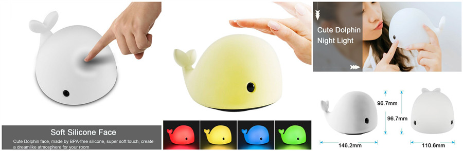 Dolphin Colorful Silicone Night Light